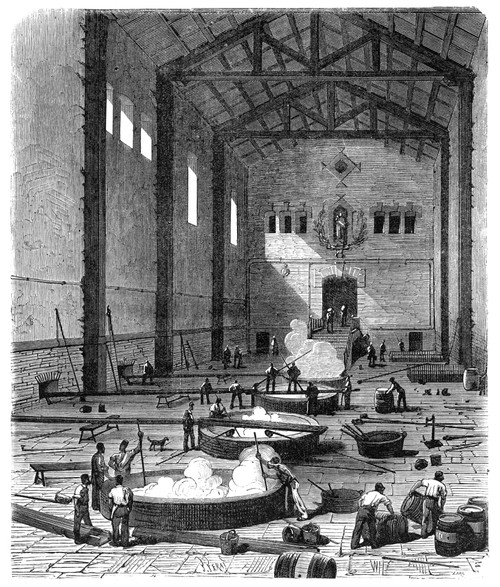 Soap Manufacture. /Nthe Soap Boiling Room Of A French Olive Oil-Soap Factory At Marseilles. Wood Engraving, French, C. 1870. Poster Print by Granger Collection - Item # VARGRC0014796