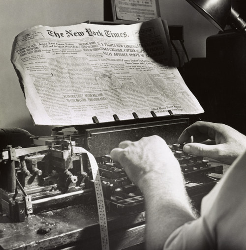 New York Times Office, 1942. /Na Copy Reader At The Telegraph Desk In The New York Times Office. Photograph By Marjory Collins, 1942. Poster Print by Granger Collection - Item # VARGRC0325291