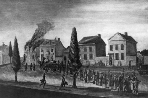 Firefighting, 1809. /Ncitizens Supplying A Fire Engine With Water From A Pump, New York, C1809. Poster Print by Granger Collection - Item # VARGRC0045609