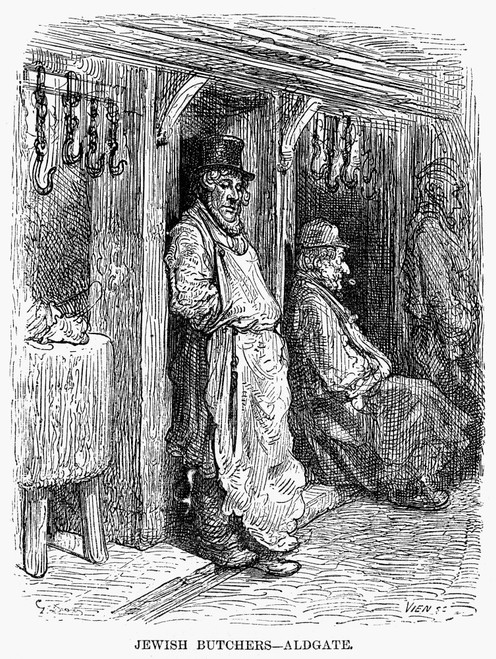 Dor_: London, 1872. /Njewish Butchers Of Aldgate, London. Wood Engraving After Gustave Dor_ From 'London: A Pilgrimage,' 1872. Poster Print by Granger Collection - Item # VARGRC0094106