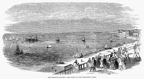 England: Brighton, 1853. /Ncrowds Watching The Regatta At Brighton, England, 1853. Contemporary English Wood Engraving. Poster Print by Granger Collection - Item # VARGRC0094741
