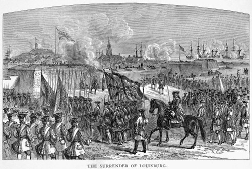 Louisbourg: Engraving. /Nthe Surrender Of The French Fortress Of Louisbourg On Cape Breton Island To British Forces In 1745. Wood Engraving, American, 19Th Century. Poster Print by Granger Collection - Item # VARGRC0075300