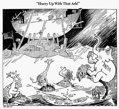 Cartoon: World War Ii. /N'Hurry Up With The Ark.' American Cartoon By Dr. Seuss (Theodor Geisel) For 'Pm', 23 February 1942, On America'S Support Of Great Britain And Its Colonies During Wwii. Poster Print by Granger Collection - Item # VARGRC0088696