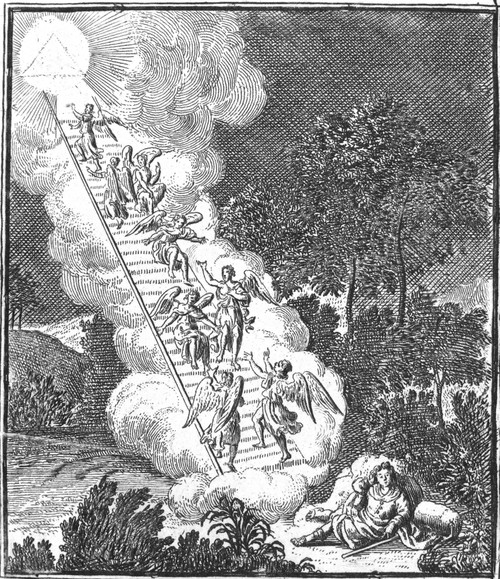 Jacob'S Ladder. /Nthe Vision Of Jacob'S Ladder (Genesis 28: 12). Copper Engraving, English, 18Th Century. Poster Print by Granger Collection - Item # VARGRC0030060