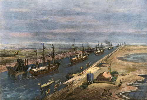 Suez Canal: Opening, 1869. /Nthe Procession Of Ships Into The Suez Canal At The Opening Ceremonies, 17 November 1869. Wood Engraving From A Contemporaty English Newspaper. Poster Print by Granger Collection - Item # VARGRC0008356