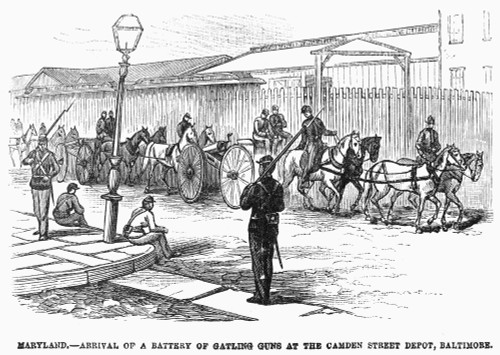 Great Railroad Strike, 1877. /Nthe Arrival Of A Battery Of Gatling Guns At The Camden Street Station, Baltimore, Maryland, July 1877. Wood Engraving From A Contemporary American Newspaper. Poster Print by Granger Collection - Item # VARGRC0096180