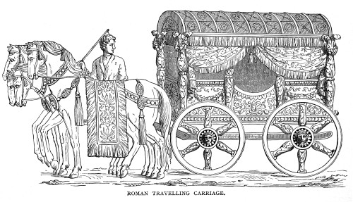 Roman Carriage. /Na Roman Traveling Carriage. Line Engraving. Poster Print by Granger Collection - Item # VARGRC0081514