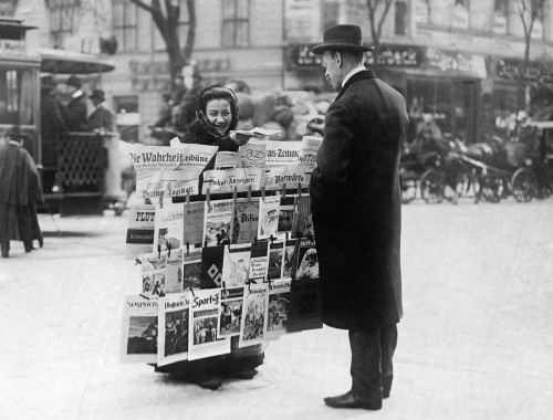 Berlin: Newspaper Seller. /Na Woman Selling Newspapers On The Street In Berlin, Germany. Photograph, C1915. Poster Print by Granger Collection - Item # VARGRC0266048