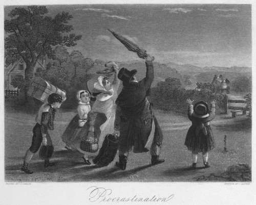 Procrastination, C1830. /Na Family Missing The Carriage Due To Procrastination. Mezzotint Engraving, C1830, By John Sartain. Poster Print by Granger Collection - Item # VARGRC0099071