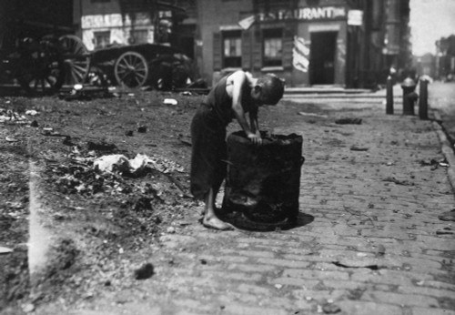 New York: Poverty, 1915. /Nbarefoot Boy Picking Trash On The Westside Of New York. Photograph By Lewis Hine, 1915. Poster Print by Granger Collection - Item # VARGRC0125156