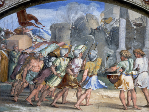 Battle Of Jericho./Nthe Walls Of Jericho Falling. Fresco At The Vatican By Raphael Or His School, 1508-1524. Poster Print by Granger Collection - Item # VARGRC0115350