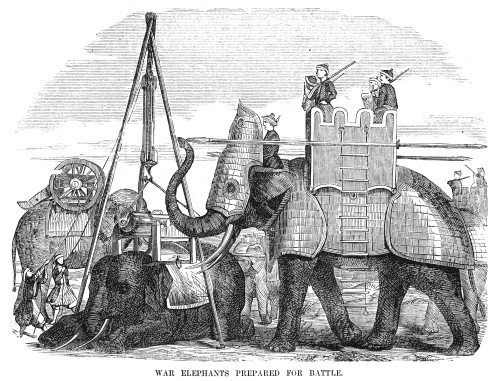 Burma: War Elephant, 1855. /Nwar Elephants Being Armored And Prepared For Battle. Wood Engraving, American, 1855. Poster Print by Granger Collection - Item # VARGRC0090607