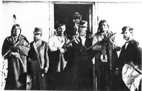 Fort Laramie Treaty. /Nthe Signers Of The Treaty Of Fort Laramie, May 1868. Man-Afraid-Of-His-Horses Is Second From Right. Red Cloud Is Not Pictured As He Signed The Treaty In November, 1868. Poster Print by Granger Collection - Item # VARGRC0017904