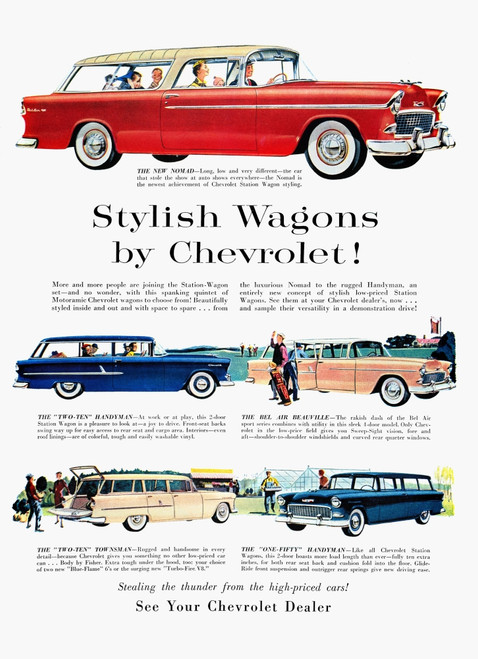 Station Wagon Ad, 1955. /Namerican Magazine Advertisement, 1955, For Chevrolet Station Wagons. Poster Print by Granger Collection - Item # VARGRC0007822