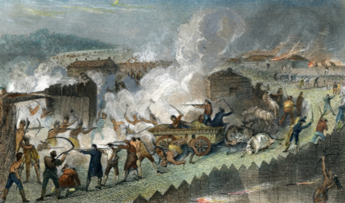 Native American Attack. /Nnative Americans Attacking A Cumberland Valley Settlement In The Late 18Th Century. Steel Engraving, 1843. Poster Print by Granger Collection - Item # VARGRC0009006
