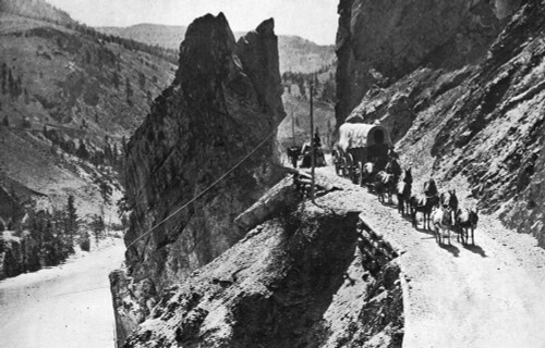 Canada: Cariboo Road, 1868. /Na Wagon Train Traveling Along The Cariboo Road Through Great Bluff In British Columbia, Canada. A Newly Completed Telegraph Line Is Above Them. Photograph, 1868. Poster Print by Granger Collection - Item # VARGRC0174665