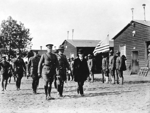 John Joseph Pershing /N(1860-1948). American Army Commander. General Pershing With Secretary Of War Newton Diehl Baker Inspecting U.S. Troops At An Unidentified Barracks. Photograph, 1918. Poster Print by Granger Collection - Item # VARGRC0037439