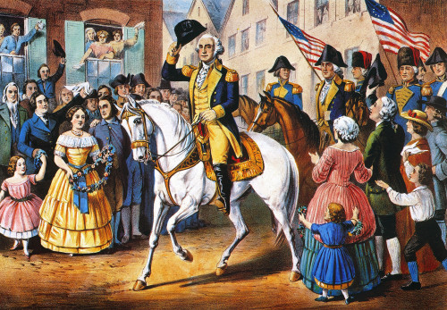 George Washington /N(1732-1799). George Washington'S Entry Into New York On The Evacuation Of The City By The British On 25 November 1783. Lithograph, 1857, By Currier & Ives. Poster Print by Granger Collection - Item # VARGRC0011741