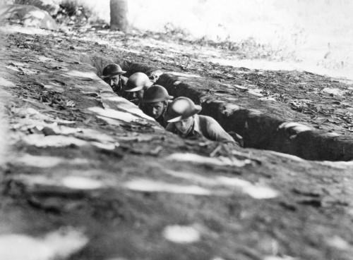World War Ii: Bataan, 1942. /Namerican Soldiers Ducking Shrapnel At Bataan, Philippine Islands, February 1942. Poster Print by Granger Collection - Item # VARGRC0017987
