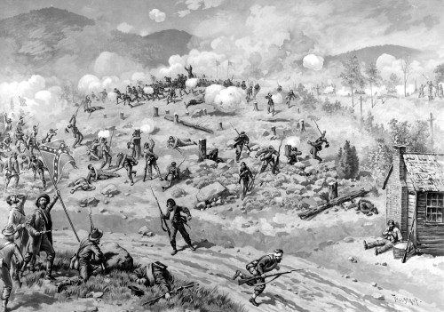 Civil War: Allatoona Pass. /Nthe Battle Of Allatoona Pass, Georgia, 5 October 1864. Lithograph, 1887, By L. Prang After Thure Thulstrup. Poster Print by Granger Collection - Item # VARGRC0059748