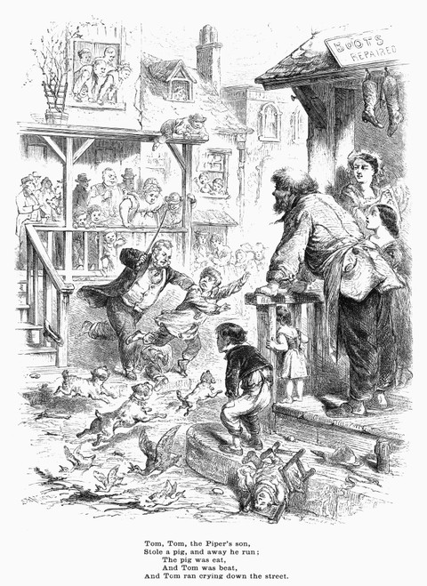 Lang Nursery Rhyme Book NTom Tom The PiperS Son Pen-And-Ink Drawing By L Leslie Brooke From The First Edition 1898 Of Andrew LangS Book Of Nursery Rhymes Poster Print by 18 x 24
