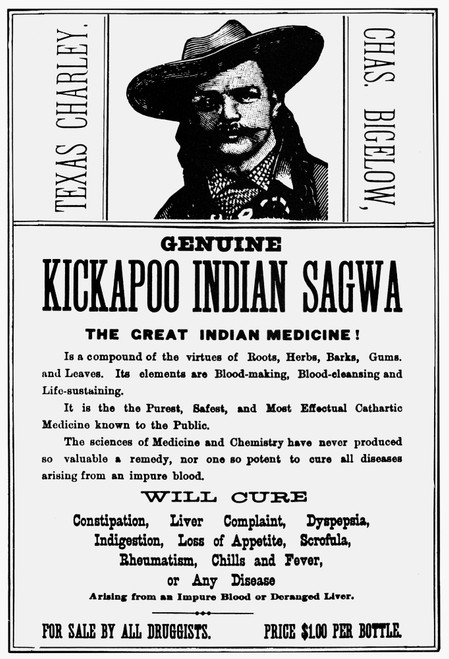 Patent Medicine, C1890. /Npatent Medicine Label With The Likeness Of 'Texas Charley' Bigelow Of Healy & Bigelow, Kickapoo Native American Medicine Promoters, C1890. Poster Print by Granger Collection - Item # VARGRC0027834