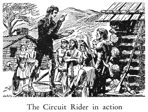 Circuit Rider. /Na Circuit Rider Preaching To Pioneers In The American West. Wood Engraving, American Poster Print by Granger Collection - Item # VARGRC0098550