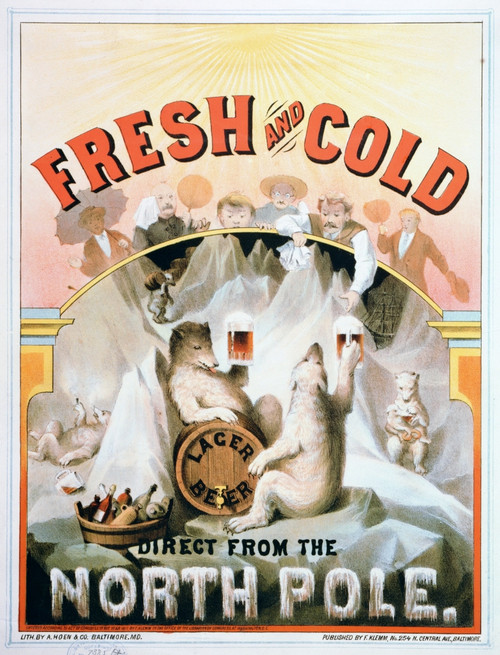 Ad: Beer, C1877. /N'Fresh And Cold - Direct From The North Pole.' Lithograph, C1877. Poster Print by Granger Collection - Item # VARGRC0266646