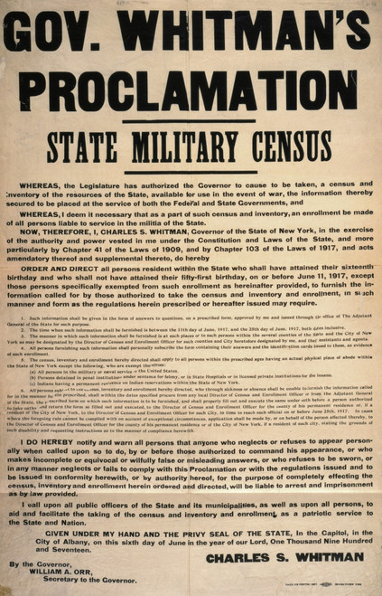 State Military Census, 1917. /Nproclamation By New York Governor Charles S. Whitman Calling For A Statewide Military Census. Lithograph Poster, 1917. Poster Print by Granger Collection - Item # VARGRC0123240