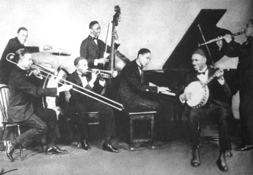 'Jelly Roll' Morton /N(1885-1941). Ferdinand Joseph La Menthe. American Musician. Jelly Roll Morton (At Piano) With His Group, The Red Hot Peppers, 1926. Poster Print by Granger Collection - Item # VARGRC0029436
