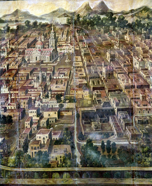 Mexico: City View. /Nview Of A Mexican City With A Cathedral. Painting By An Unknown Artist, 18Th Century. Poster Print by Granger Collection - Item # VARGRC0104802