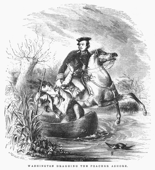 George Washington /N(1732-1799). First President Of The United States. Washington Dragging The Poacher Ashore. Engraving, 19Th Century. Poster Print by Granger Collection - Item # VARGRC0089604