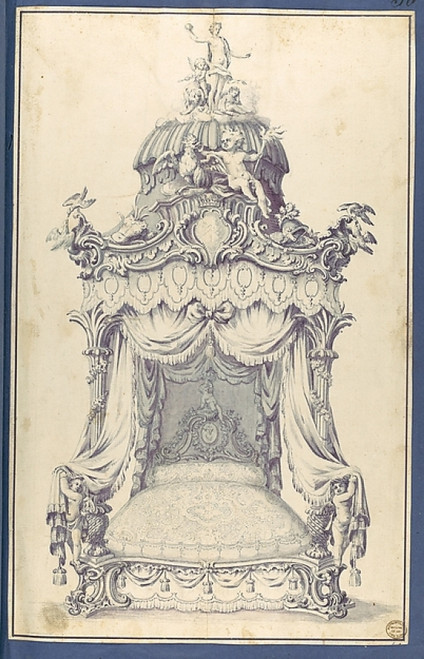 """State Bed  in Chippendale Drawings  Vol. I Poster Print by Thomas Chippendale (British  baptised Otley  West Yorkshire 1718  """"1779 London) (18 x 24) - Item # MET390507"""