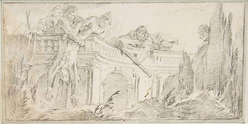 "Illustration for a Book: Scene of Men Disposing of Corpse in a Garden Poster Print by Giovanni Battista Tiepolo (Italian  Venice 1696  ""1770 Madrid) (18 x 24) - Item # MET339307"