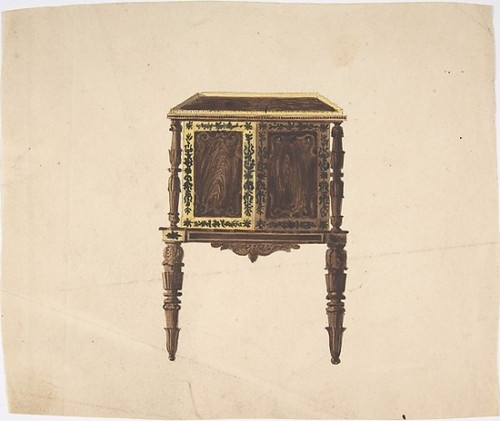 Design for a Small Cabinet with Elaborately Carved Legs Poster Print by Anonymous  British  19th century (18 x 24) - Item # MET386789