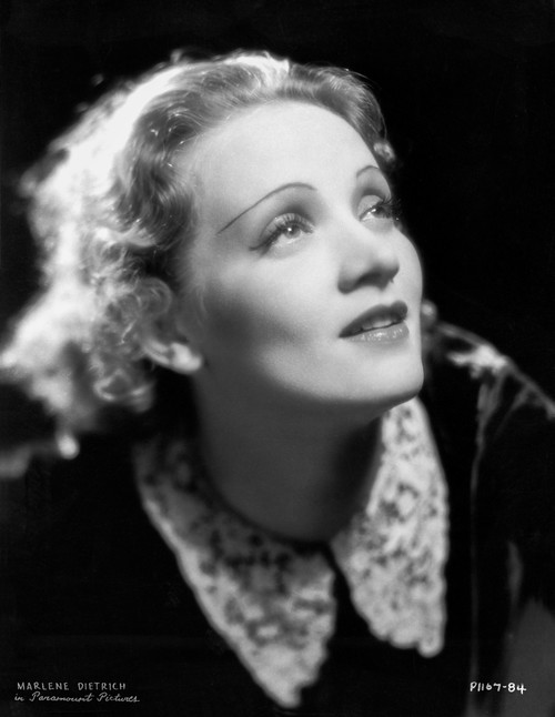 Marlene Dietrich Looking Up in Black and White Dress with a Smile Photo Print - Item # VARCEL695496