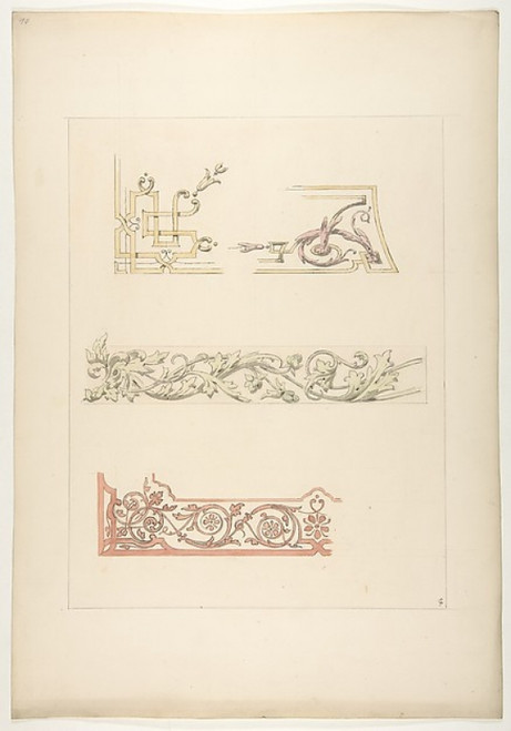 Three designs for decorative borders Poster Print by Jules-Edmond-Charles Lachaise (French  died 1897) (18 x 24) - Item # MET385106