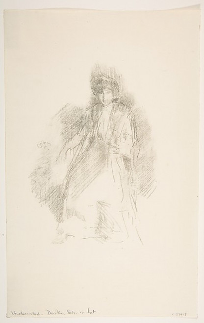 """Portrait of a Young Woman Wearing a Hat (Miss Seaton) (Dorothy Seaton in a Hat) Poster Print by James McNeill Whistler (American  Lowell  Massachusetts 1834  """"1903 London) (18 x 24) - Item # MET372934"""
