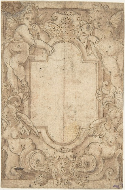 Design for a Frame with Putti and Sirens Poster Print by Anonymous  Italian  second half of the 16th century (18 x 24) - Item # MET363761