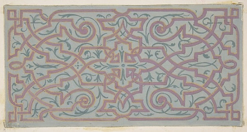 Design for the decoration of a ceiling with strapwork Poster Print by Jules-Edmond-Charles Lachaise (French  died 1897) (18 x 24) - Item # MET385030