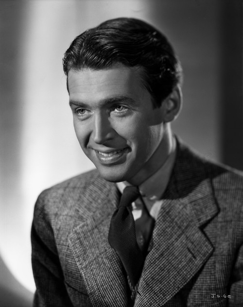 James Stewart Portrait in White Background and Grey Linen Suit with White Linen Collar Shirt Photo Print - Item # VARCEL707914