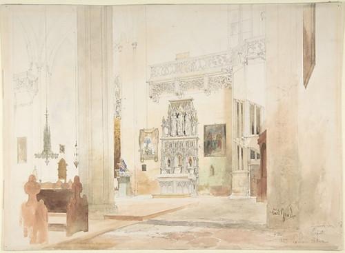 Interior of Saint Severin Church in Erfurt Poster Print by Carl Georg Anton Graeb (German  Berlin 1816–1884 Berlin) (18 x 24) - Item # MET366202