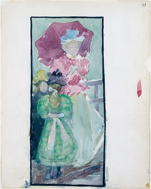 """Large Boston Public Garden Sketchbook: Two young girls and a woman with a parasol Poster Print by Maurice Brazil Prendergast (American  St. John  ™s  Newfoundland 1858  """"1924 New York) (18 x 24) - Item # MET459554"""