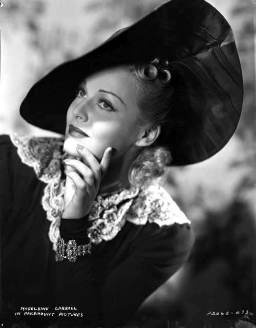 Madeleine Carroll Looking Up in Black Dress with Big Hat Photo Print - Item # VARCEL695517