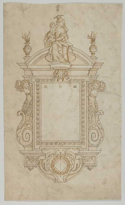 Design for an Epitaph surmounted by a Statue of the Virgin and Child Poster Print by Anonymous  Flemish   17th century (18 x 24) - Item # MET679428