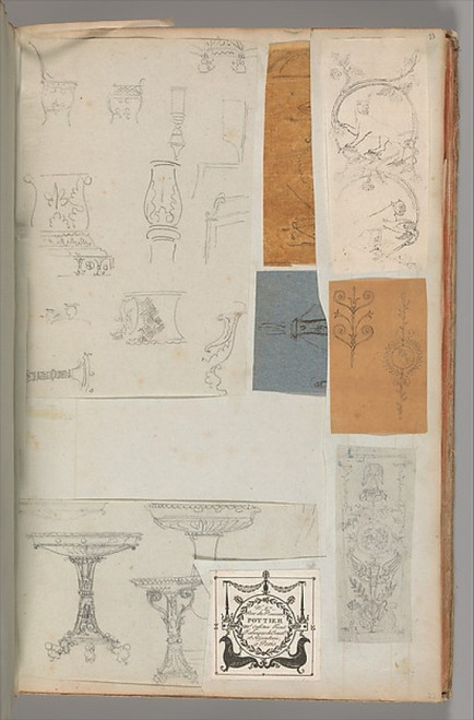 """Page from a Scrapbook containing Drawings and Several Prints of Architecture  Interiors  Furniture and Other Objects Poster Print by Workshop of Charles Percier (French  Paris 1764  """"1838 Paris) (18 x 24) - Item # MET706381"""