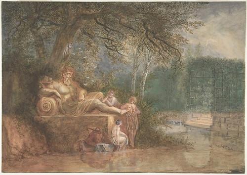 "A Park with Figures at a Statue near Water Poster Print by Salomon Gessner (Swiss  Zurich 1730  ""1788 Zurich) (18 x 24) - Item # MET389704"