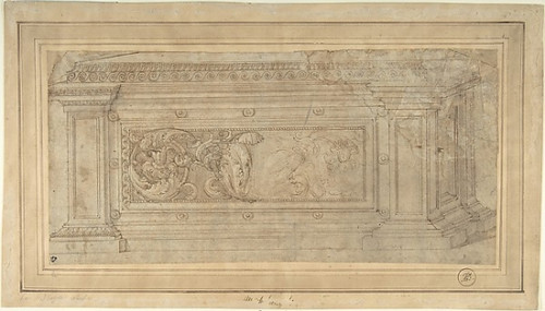 """Design for a Cassone Poster Print by Anonymous  Italian  16th century (Italian  active Central Italy  ca. 1550  """"1580) (18 x 24) - Item # MET346311"""