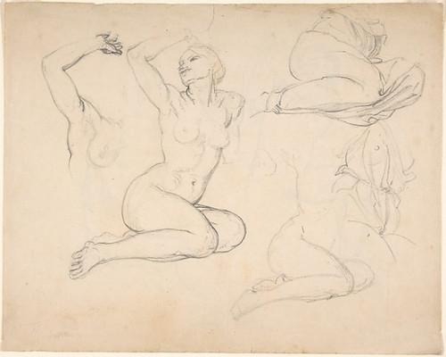 """Studies of a Sitting Woman; verso: Studies of Men Poster Print by Eduard Julius Friedrich Bendemann (German  Berlin 1811  """"1889 Düsseldorf) (18 x 24) - Item # MET384263"""