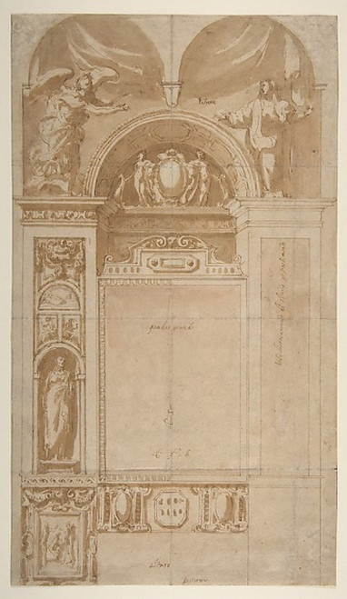 """Design for a Reredos or Frame and Setting for an Altar Painting Poster Print by Pomarancio (Cristoforo Roncalli) (Italian  Pomarance ca. 1553  """"1626 Rome) (18 x 24) - Item # MET346118"""
